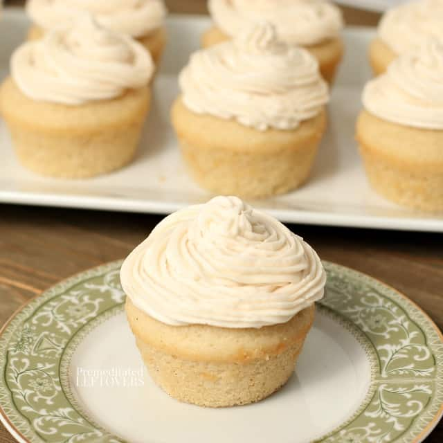 Homemade cupcakes topped with Crisco frosting.