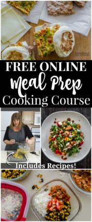 An online meal prep cooking course to help you make breakfasts and lunches ahead of time.