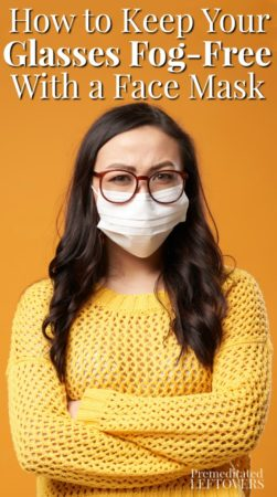 woman with fog-free glasses while wearing a face mask