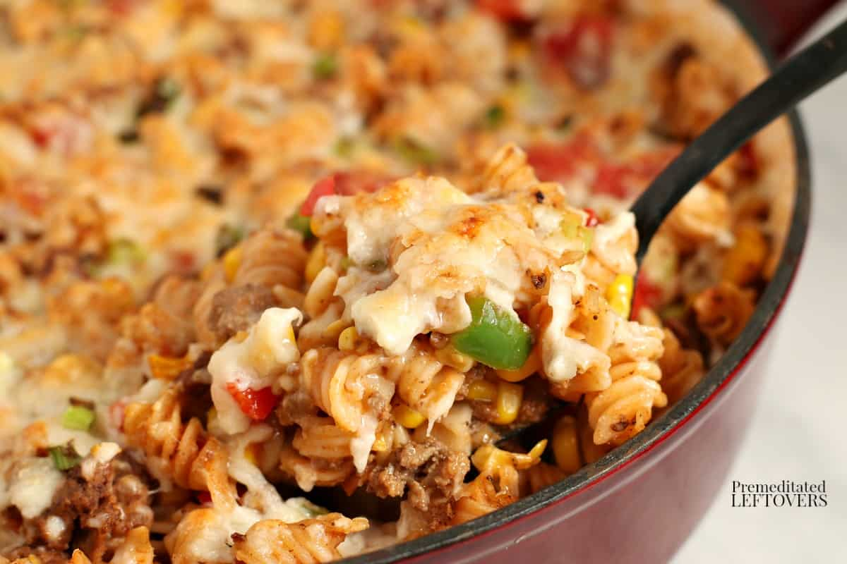 A tasty chipotle pasta skillet recipe with ground beef and melted cheese.