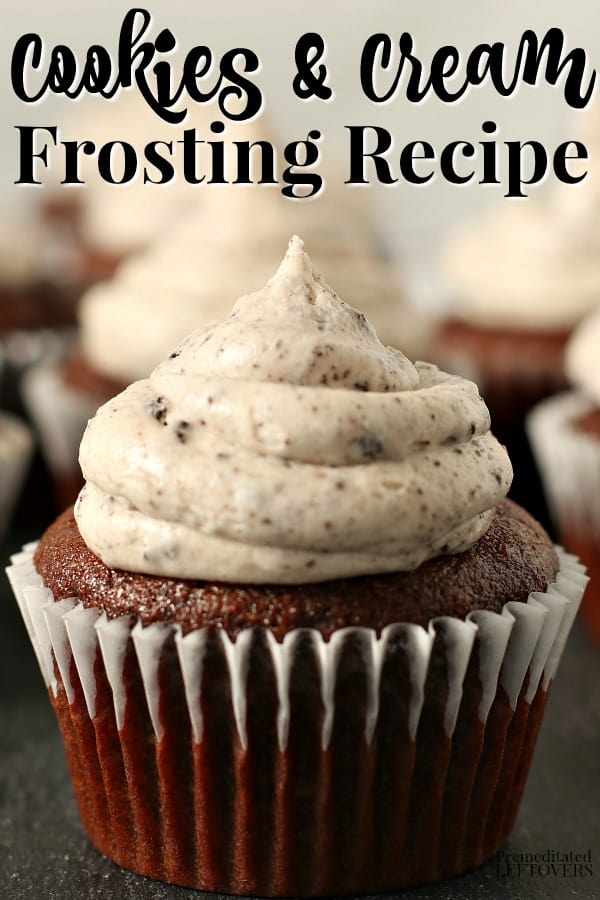 Homemade cookies and cream frosting using crushed Oreo cookies.