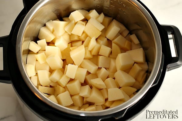 5 pounds of cut up potatoes in the Instant Pot