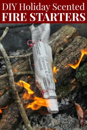 diy holiday scented fire starter on logs in a fire pit