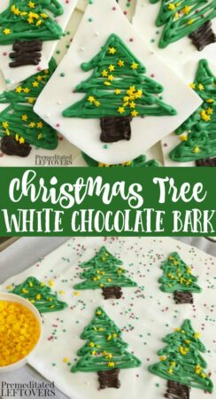 Easy Christmas Tree White Chocolate Bark Candy Recipe