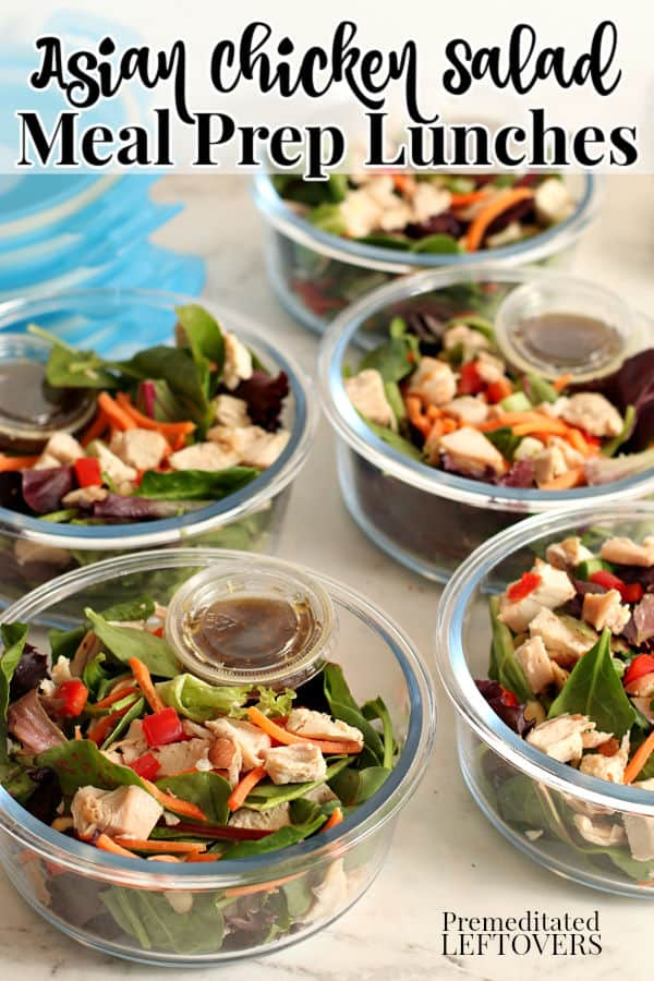 Asian chicken salads in meal prep bowls