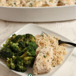 garlic chicken, rice, and broccoli on a plate