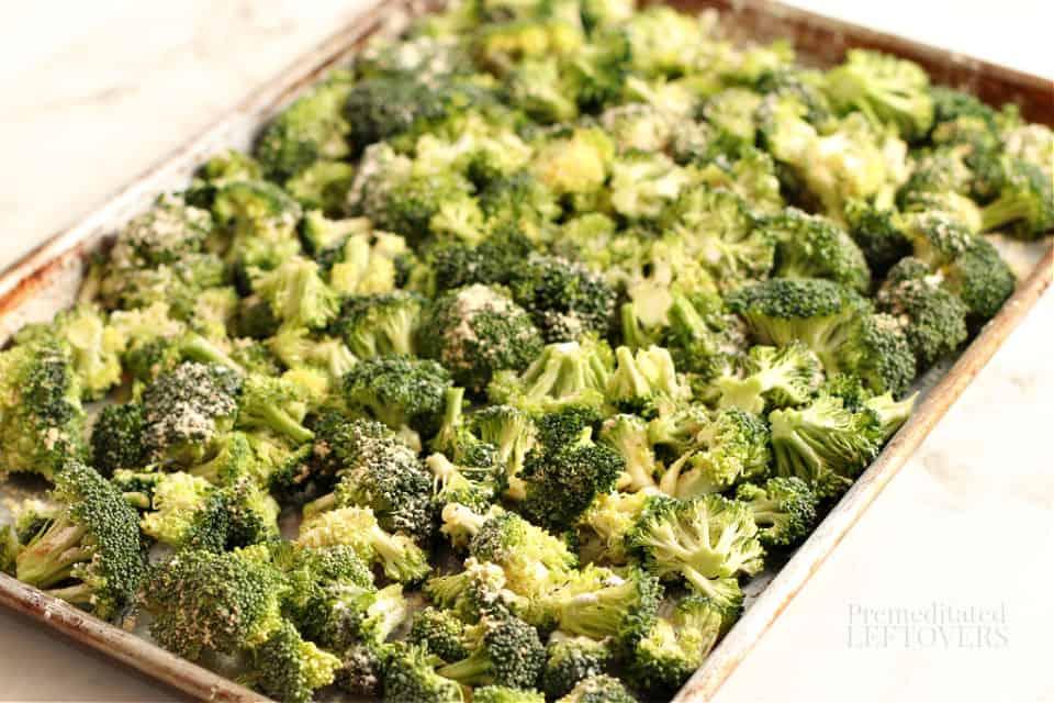 raw broccoli on a baking tray