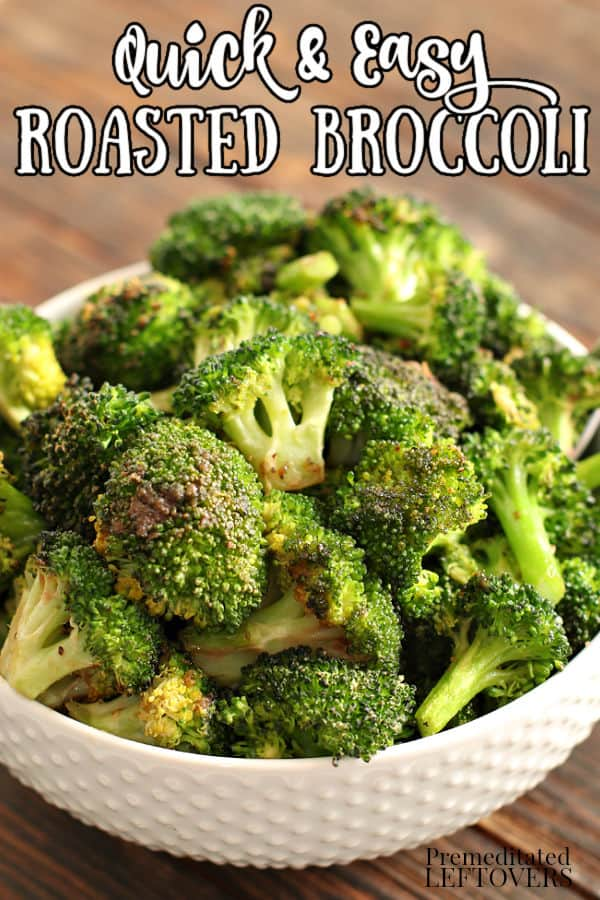 Easy roasted broccoli with garlic and onion in a white bowl.
