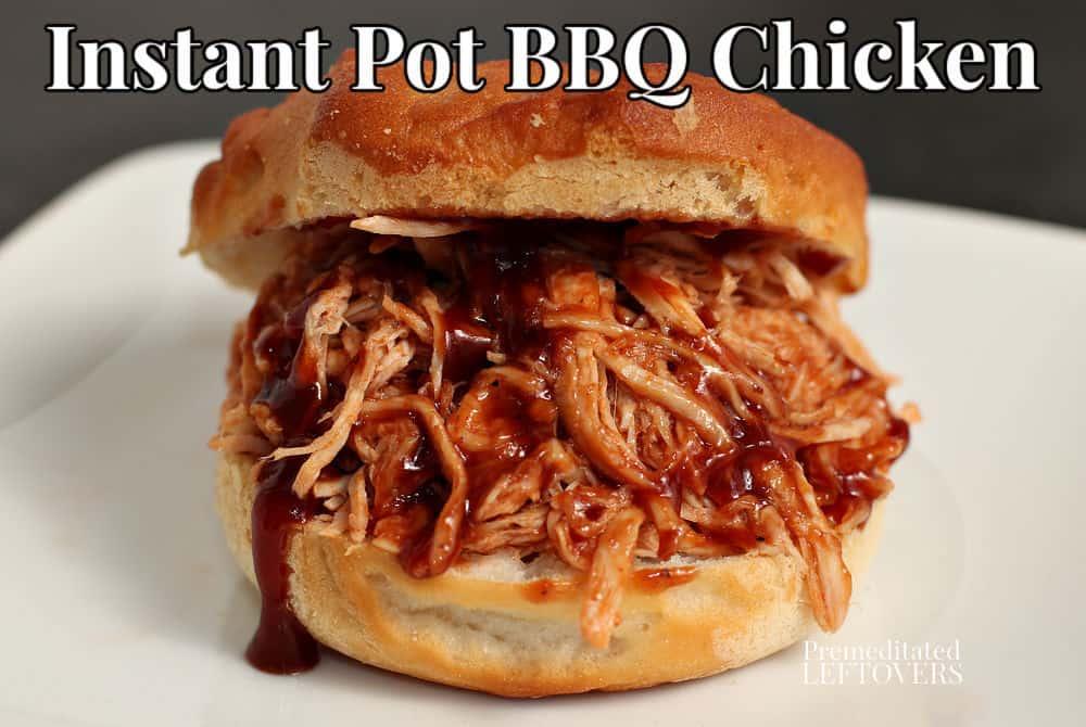 Instant Pot pulled bbq chicken on a hamburger bun.